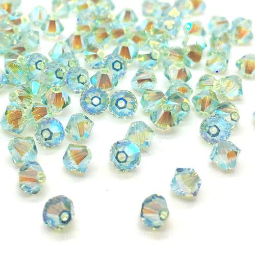 144 Swarovski 5328 Crystal XILION Bicone Bead Jewelry 4mm green CHRYSOLITE AB 2x