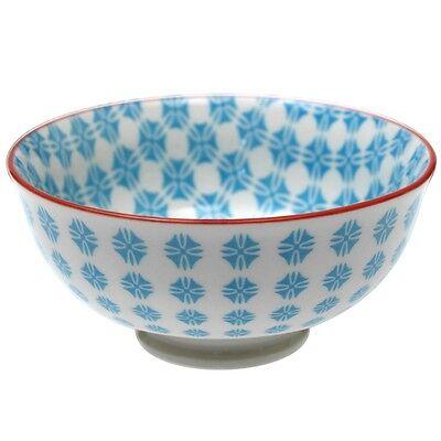 dotcomgiftshop SMALL PORCELAIN JAPANESE BLOSSOM BOWL BLUE AZTEC DESIGN