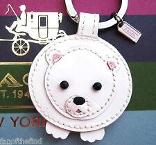 Coach Patent Leather Mink Fur Tail Polar Bear Key Fob Keychain Charm 93015