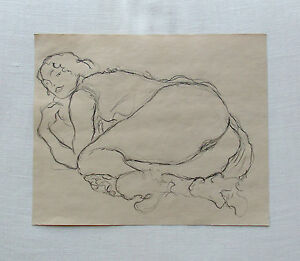 Gustav-Klimt-signed-original-pencil-study-2nd-out-of-4-039-Danae-039-approx-1906