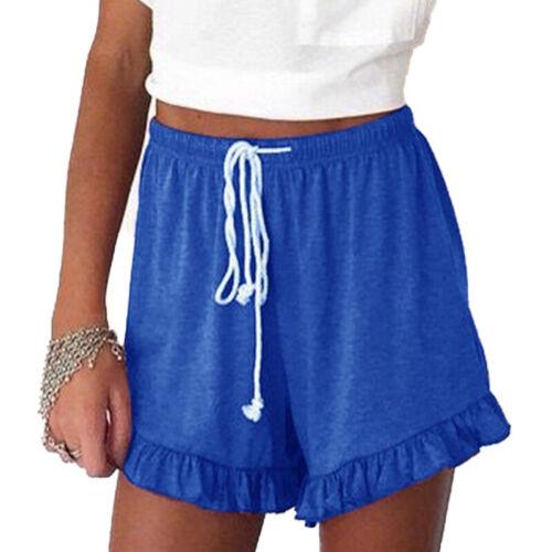 Damen Rüsche Shorts Kurz Hose Hotpants Sommerhose mit Gürtel Bermudas Strandhose