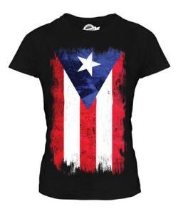 Puerto Rico Grunge Bandera Mujer Camiseta Top Rican Camisa Regalo de Fútbol