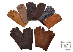 New Men's Sheepskin / Lambskin Leather and Suede Winter Gloves w/ Fur Lining