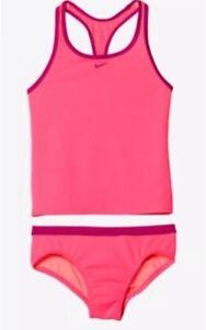 Girls-Nike-Core-Solid-Racerback-Tankini-NWT-Pink-amp-Fuchsia-Swim-Suit-Size-10