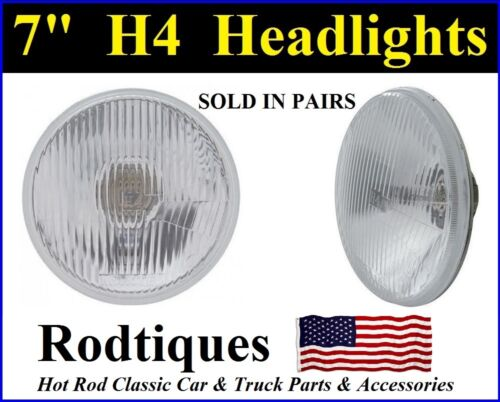 "4 7/"" H4 HEADLIGHTS 2 LIGHT CONVERSION UPGRADE ROUND MAXTEL HEAD LAMPS 12 VOLT"