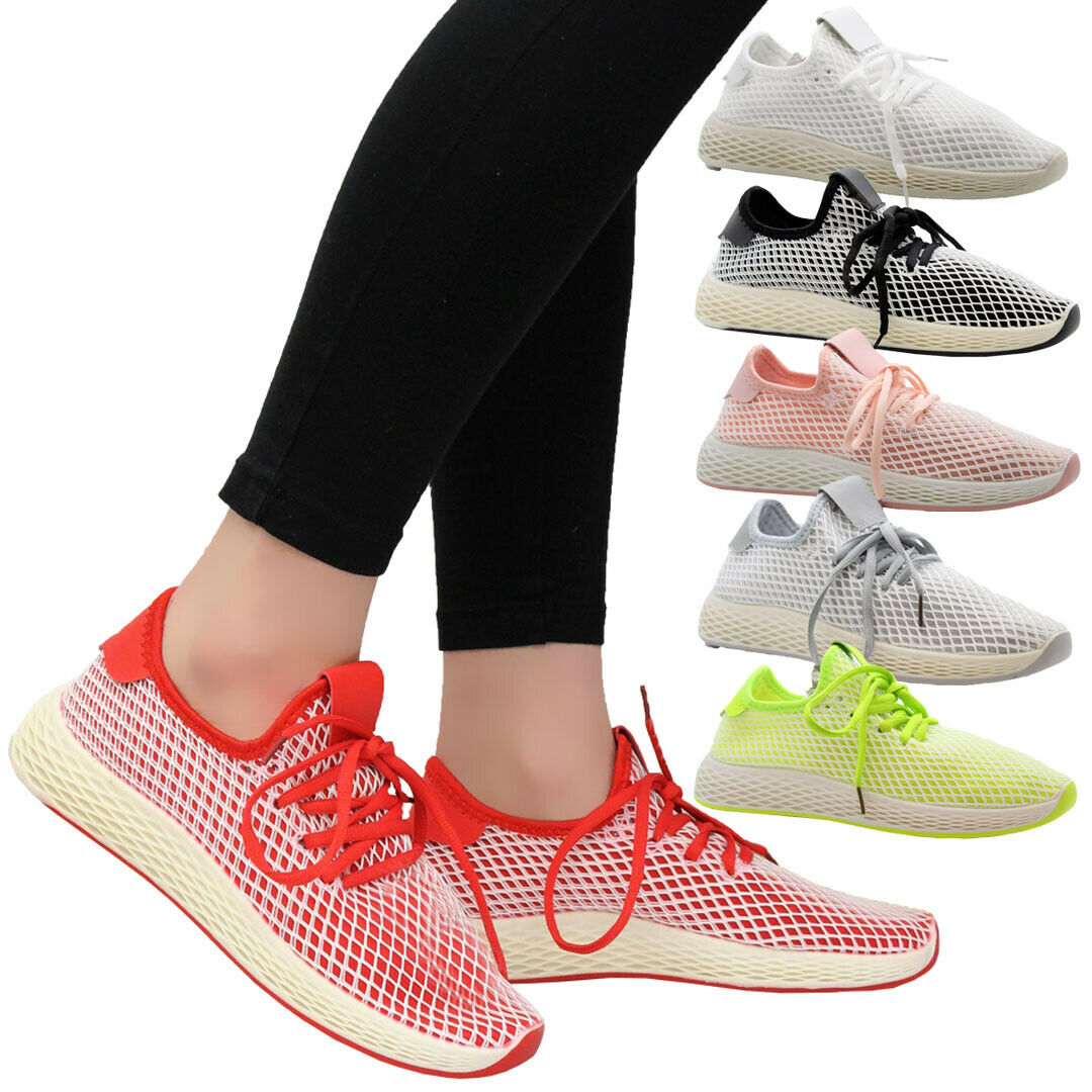 Ladies Lace Up Women Mesh Sports Gym Walking Sneaker Running Trainers Shoes Size