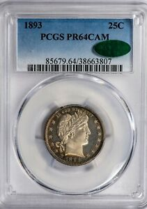 1893-25C-Barber-PCGS-PR64-CAM-CAC-Verified-Cameo-Proof-Quarter