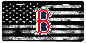 Details about New Black and White American Flag Boston Red Sox Vanity Front  License Plate 87919bdc4ac6