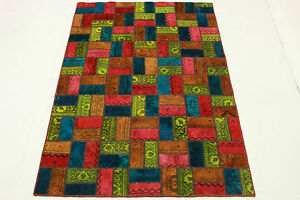 Vintage-Patchwork-Orient-Tapis-210x140-Rouge-Bleu-Orange-moderne-Used-Look-1978
