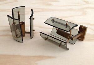 Due lampade applique 1950s in ottone e vetro curvato e molato ebay