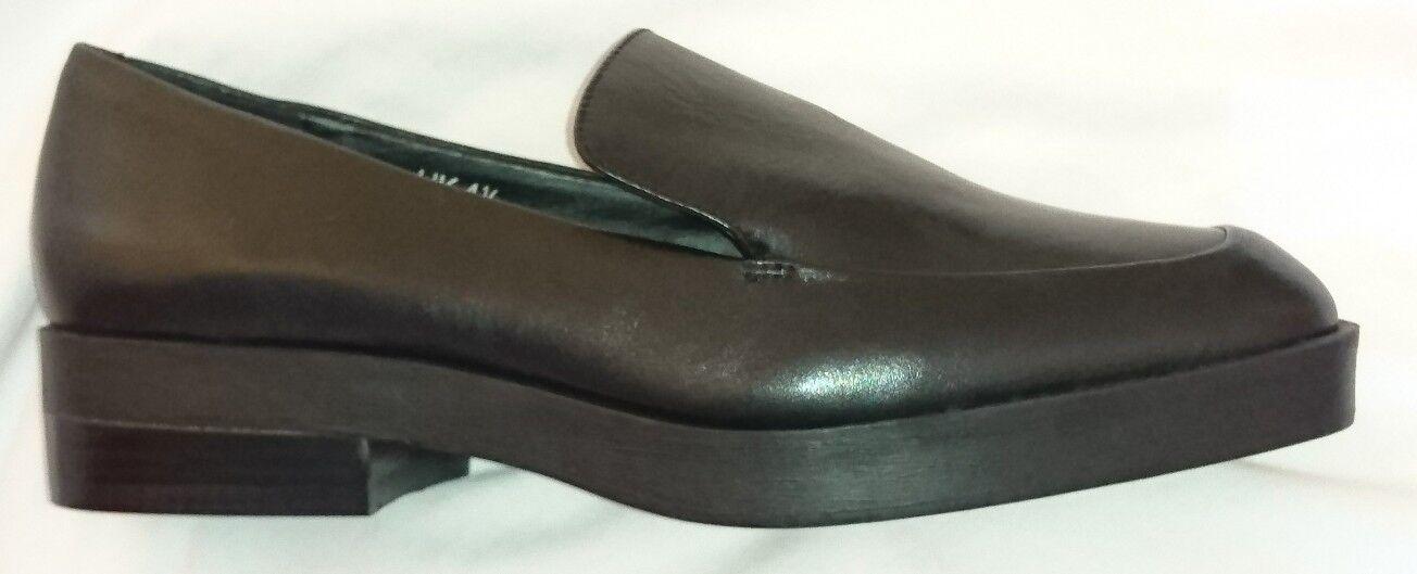 M & S Ladies Slip On shoes Black Leather Uk 6.5 Brand New Short Heel Rrp