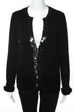 Jean-Louis Scherrer Black Sequin Silk Cardigan Sweater Size Extra Large