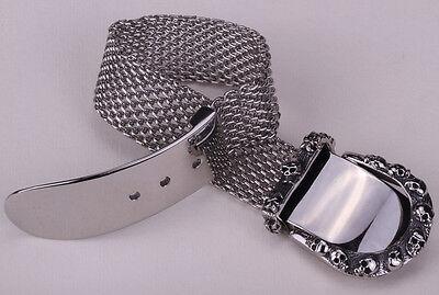 Men belt buckle stainless steel chain bracelet adjustable biker jewelry KB02