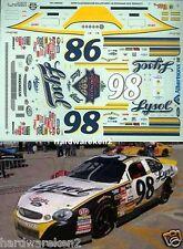NASCAR DECAL #98 LYSOL 1999 BGN FORD TAURUS ELTON SAWYER SLIXX