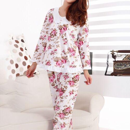 Sleepwear Set Women Comfortable Pajamas Long Sleeve Homewear Flower Nightwear