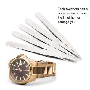 5pcs-Anti-magnetic-Straight-Tips-Tweezers-Jewelry-Craft-Making-Watch-Repair-Tool