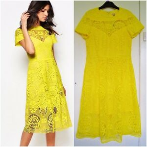 Details About Amazing River Island Yellow Guipure Lace Midi Dress Size Uk 8 Eu 34