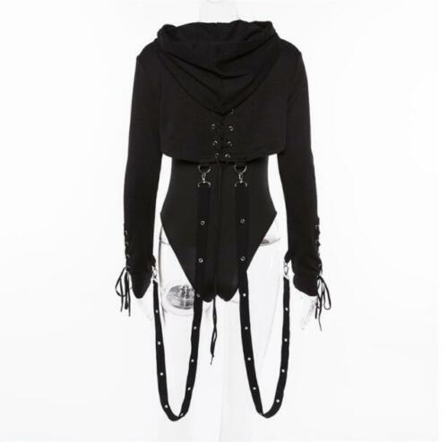 Womens Ladies Fashion Punk Gothic Hooded Lace Up Long Sleeve Short Hoodie Top