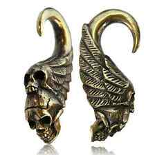 PAIR ORNATE 2g (6mm) TRIBAL SKULLS BRASS EAR WEIGHTS PLUGS TUNNELS STRETCH GAUGE
