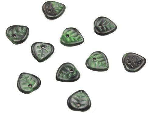50 GREEN W BLACK GLASS HEART LEAF BEADS 9MM