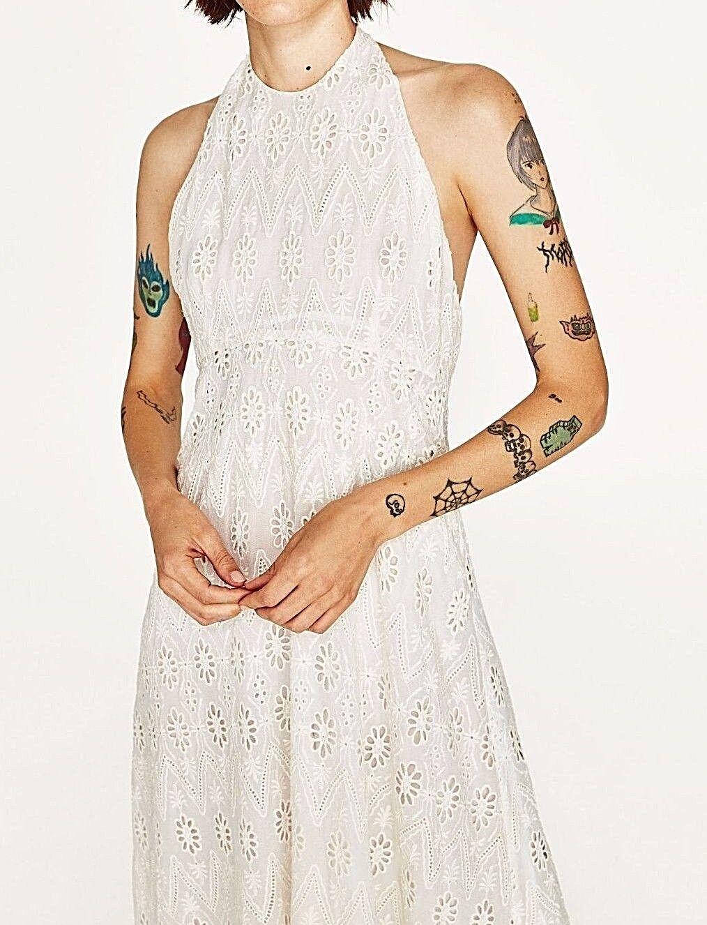 Zara Halter Neck IBIZA lace lace lace embroidered Dress Maxi abito ricamo pizzo Dimensione L ce5194