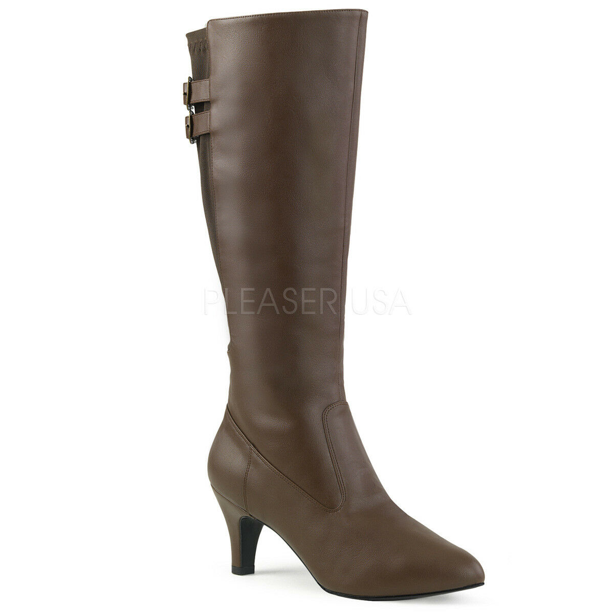 Pleaser Divina - 2018 para mujer marrón imitación en punta Carrete tacón bajo la rodilla alta botas