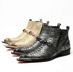 2020 Men Boot Gothic Leather Buckle Oxford Fashion Ankle Pointy Toe Dress Shoes