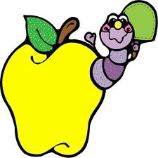 30 Custom Caterpillar In A Yellow Apple Personalized Address Labels