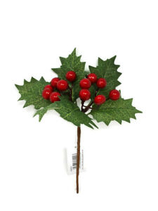 Artificial Holly /& Berry Wired Pick x 21cm Christmas Wreath Decoration
