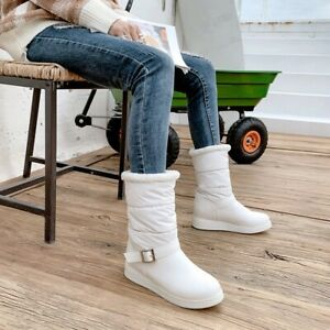 UK-Women-Winter-Warm-Boots-Fur-Lined-Waterproof-Ankle-Boots-Flat-Snow-Shoes-Size