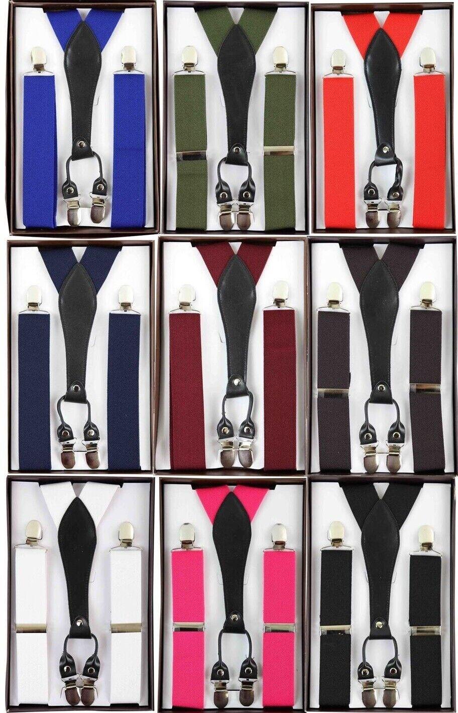 Herren 3.5cm Luxus Breit Hosenträger Hochzeit Schwarz Krawatte Formelle Bandage