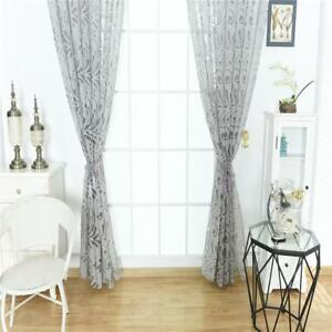 Window-Treament-Floral-Sheer-Curtain-Grommet-Top-Tulle-Panel-39-039-039-x98-039-039-Grey