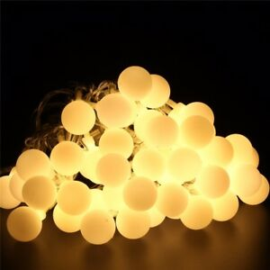 Image Is Loading 10 50m Warm Led Ball String Fairy Lights
