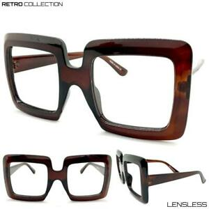 Oversized-RETRO-Large-Thick-Brown-Square-Lensless-Eye-Glasses-Frame-Only-NO-Lens