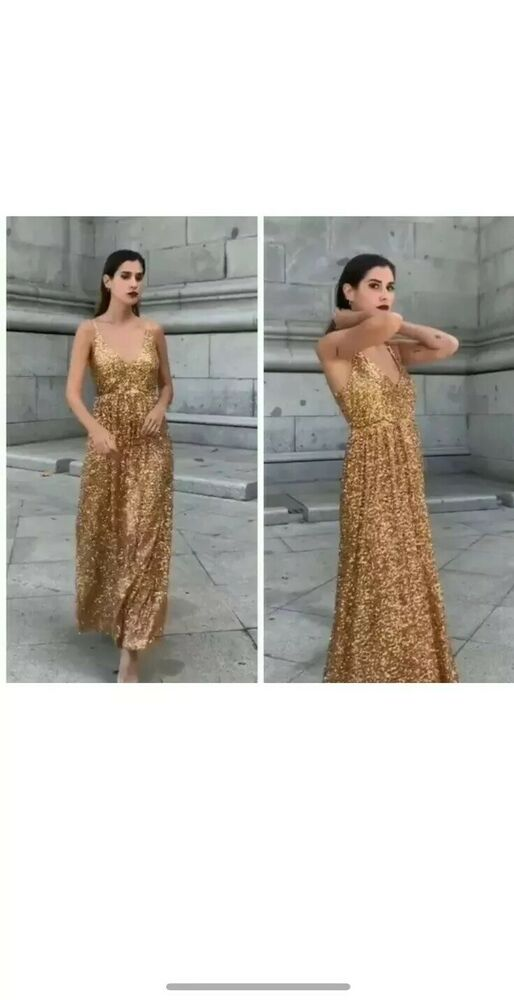 Zara Limited Edition Gold Sequin Long à Lanières Robe Taille S Bnwt