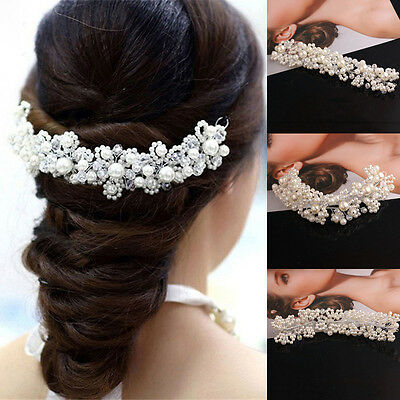 Hochzeit Braut Haarschmuck Kopfschmuck Krone Haarkamm Perle Haargesteck neu