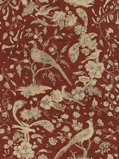 Wallpaper Van Luit Gold Tan & Black Floral Vine Toile With Pheasants on Rust Red