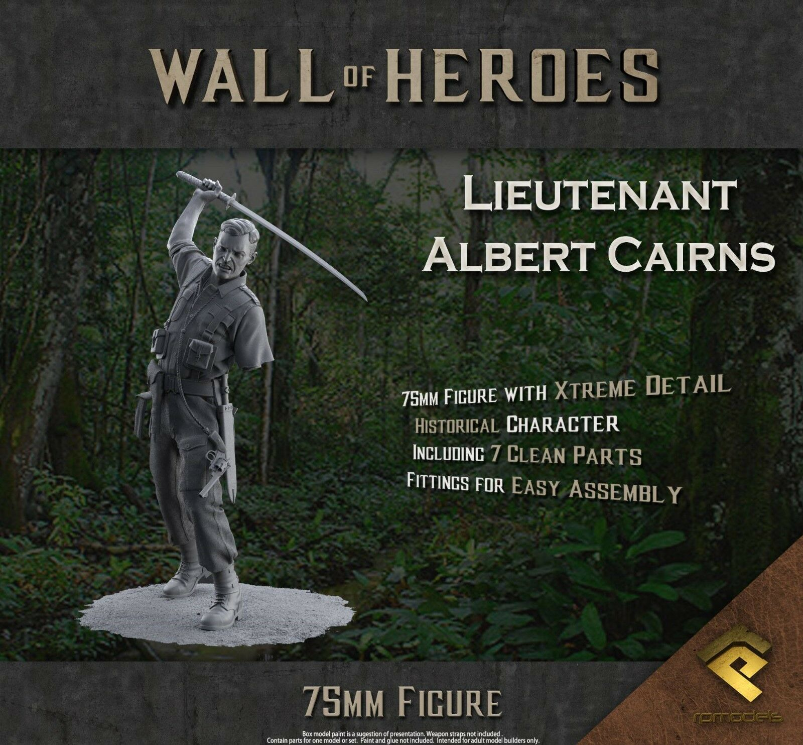 RP Models Lt Albert Cairns WW2 Unpainted 75mm Figure kit Ltd Edition