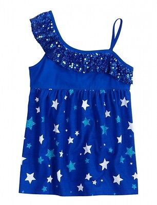 NEW NWT Justice Girls Sequin Stars Asymmetrical Babydoll Tunic Top Tee U Pick