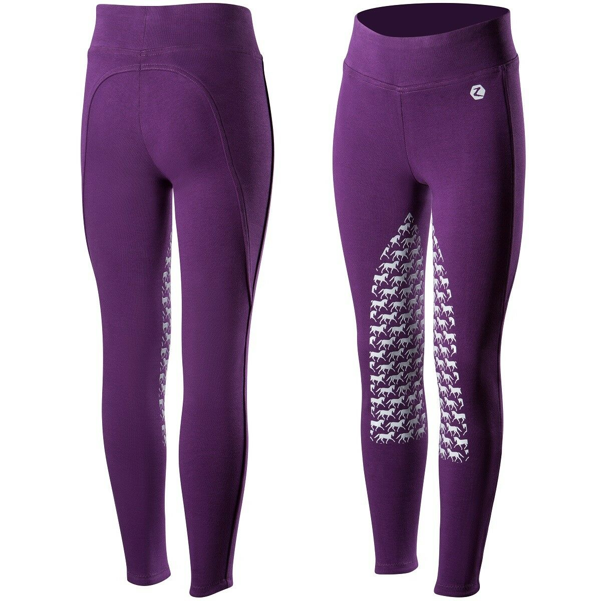 Horze Junior Active  Purple Horse Print Silicone Grip English Riding Breeches  factory outlet store