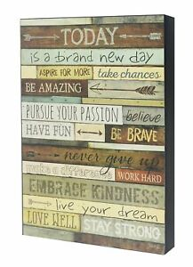 Today Is A Brand New Day Wood Wall Art Sign Inspirational Motivational Plaque