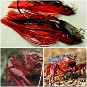 Bladed Swim Jig 3/8 Oz Bass Fishing Crank Baits Red Fire Craw 2pk