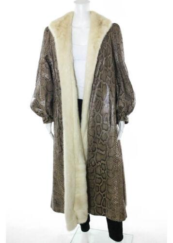 DESIGNER Genuine Snakeskin Mink Fur 2 Pocket Shawl Collar Long Coat Sz L