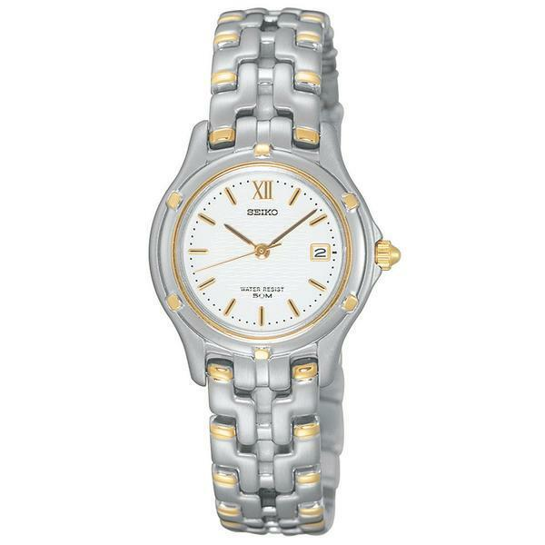 NEW Seiko SXE586 Le Grand Sport Date Two-Tone White Dial Women's Watch $325