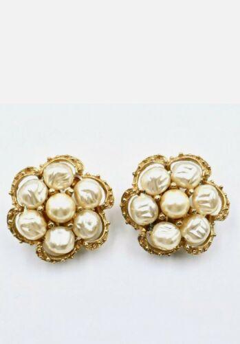 Kramer Baroque Faux Pearls Clip Earrings Cluster S