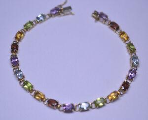 Image Is Loading 10k Yellow Gold Multi Stone Bracelet Garnet Peridot