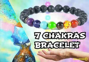 Bracelet Chakra Healing Beads Lava Natural Reiki Stone Gemstone Meditation
