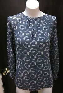 307e94c6f811 Tory Burch Women s Gray Multi Color Floral Print Silk Shirt Top ...