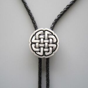 Silver Plated Celtic Cross Knot Western Cowboy Rodeo Bolo Tie