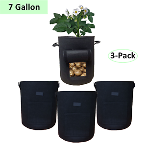 3-Pack 7 Gallon Potato Grow Bags Fabric with Flap and Handles Planter Vegetables